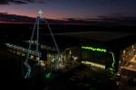 Niftylift Christmas tree with self propelled platforms and a star